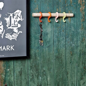 Short coat rack with red hooks